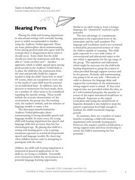 Mainstreaming a Child w/ Hearing Loss: Recorded Powerpoint & Handouts
