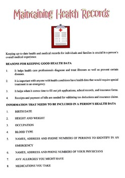 Maintaining Health Records Lesson