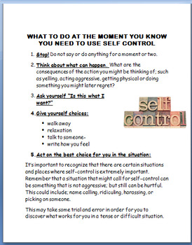Maintaining Self Control- lesson plan, and activities