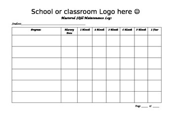 Maintenance data tracking log for aba autism or special for Aba program template