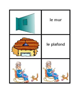 Maison (House in French) Vocabulary Concentration games