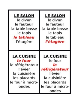 Maison et Meubles (House and Furniture in French) Jeu des Sept Familles