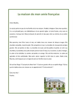 Maison, reading in French for French 1 and 2 students