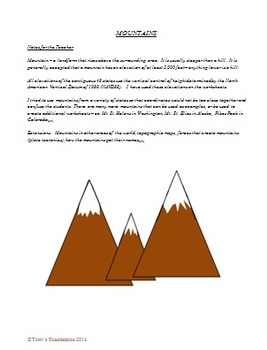 Mountains of the US - latitude and longitude, ordering elevations, word searches
