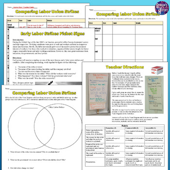 Major American Strikes & Labor Issues Picket Signs Lesson