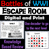 Major Battles of World War 1 Escape Room Social Studies