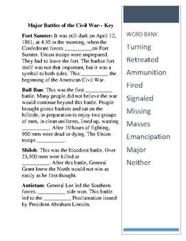 Major Battles of the Civil War -- CLOZE Reading