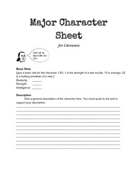 Major Character Sheet for Literature