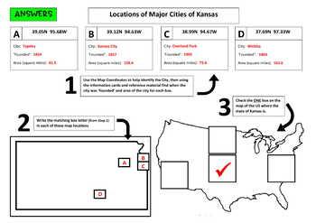 Major Cities of Kansas, Mapping Locations activity