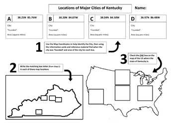 Major Cities of Kentucky, Mapping Locations activity