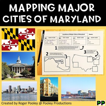 Major Cities of Maryland, Mapping Locations activity