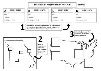 Major Cities of Missouri, Mapping Locations activity