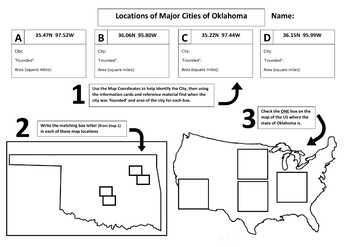Major Cities of Oklahoma, Mapping Locations activity