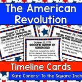 Events in the American Revolution Timeline Cards
