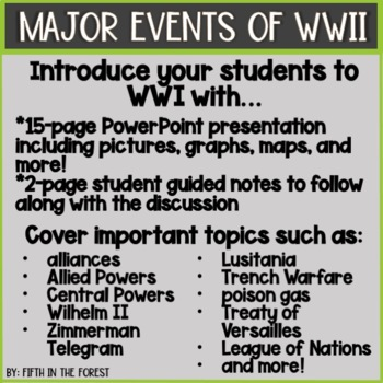 Major Events of WWI PowerPoint PLUS Student Guide
