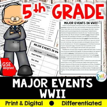 Major Events of WWII Reading & Writing Activity (SS5H4, SS5H4b)
