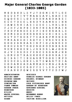 Major General Charles George Gordon Word Search