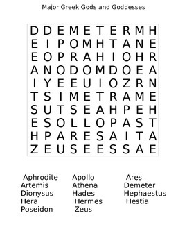 Major Greek Gods and Goddesses Wordsearch