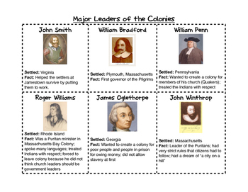 Major Leaders of the Colonies Notes