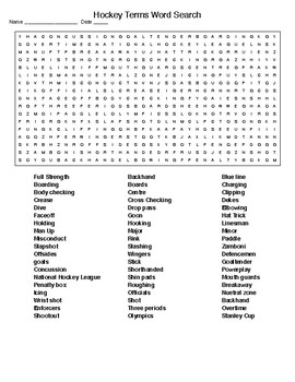Major Leagues:Hockey Terms Crossword and Word Search