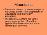 Major Mountain Ranges and Rivers of the US