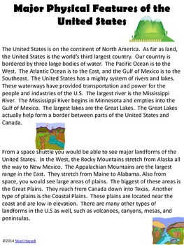 Physical Features Of The United States Reading Passage And Map - Major physical features of united states