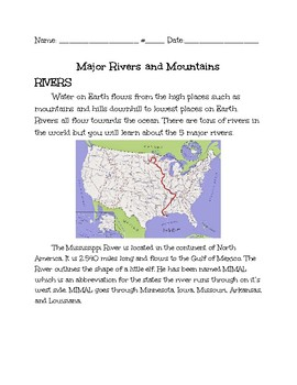 Major Rivers and Mountain Close read