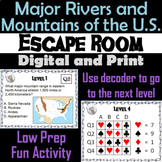 Major Rivers and Mountains of the United States: Escape Room Geography