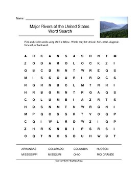 Major Rivers of the United States Word Search (Grades 3-5)