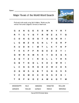 Major Rivers of the World Word Search with Answer Key