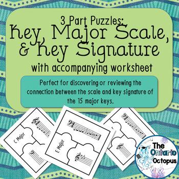 Major Scale, Key, & Key Signature: 3-way Sort & Match Puzzles
