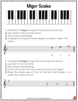 Major Scales Theory Worksheets