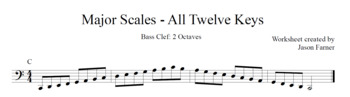 Major Scales - Bass Clef - 2 Octaves