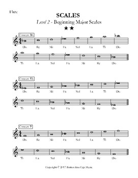 Major Scales - Levels 1-5 - Flute