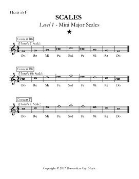 Major Scales - Levels 1-5 - Horn in F