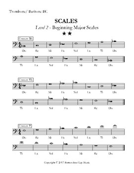 Major Scales - Levels 1-5 - Trombone/Baritone