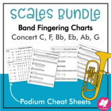 Major Scales Podium Cheat Sheet & Student Fingering Charts BUNDLE