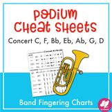Major Scales Student Fingering Charts & Podium Cheat Sheet BUNDLE
