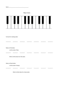 Major Scales worksheet AND VIDEO