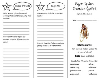Major Taylor: Champion Cyclist Trifold - Wonders 6th Grade Unit 3 Week 4
