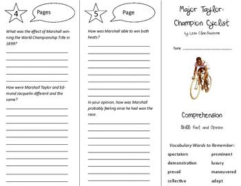 Major Taylor Champion Cyclist Trifold - California Treasures 6th Grade Ut 4 Wk 2