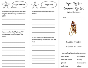 Major Taylor: Champion Cyclist Trifold - Treasures 6th Grade Unit 4 Week 4
