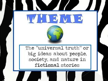Major Themes in Literature Word Wall Posters in Zebra Print
