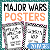 20 Major War Posters. History Word Wall. Social Studies, Flash Cards, Timeline