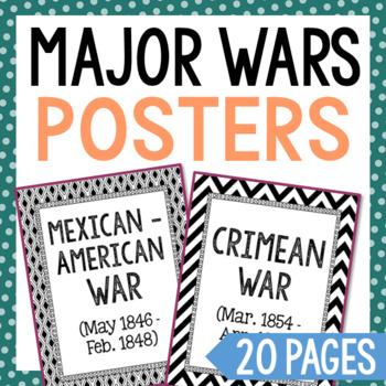 20 Major War Posters. History Word Wall. Social Studies, Flash Cards, Timeline