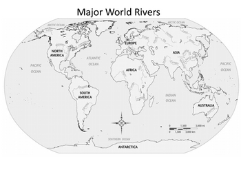 Major World Rivers Outline Map By Historyhound TpT - World map drawing outline