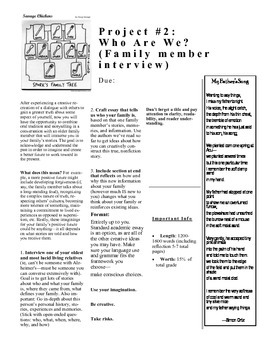 "Major Writing Assignment ""Who We Are: Family Interview"""