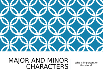 Major and Minor Characters Powerpoint