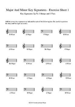 Major and Minor Key Signatures - Worksheets 1-6 by Yvonne ...