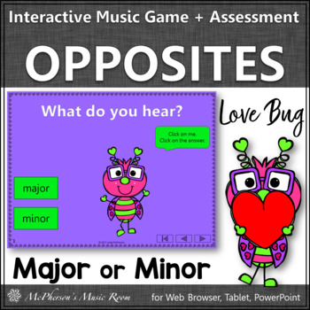 Valentine's Day Music: Major Minor Interactive Music Game & Assessment Love Bug